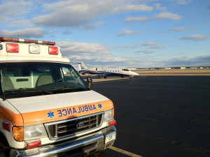 ASM ambulance picks up at Tac Air in Windsor Locks, CT