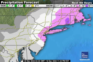 Radar impact of Winter Storm Alfred, care of the Weather Channel