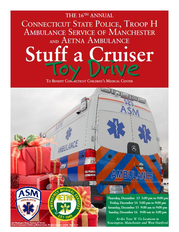 CT State Police Aetna ASM Ambulance Toy Drive