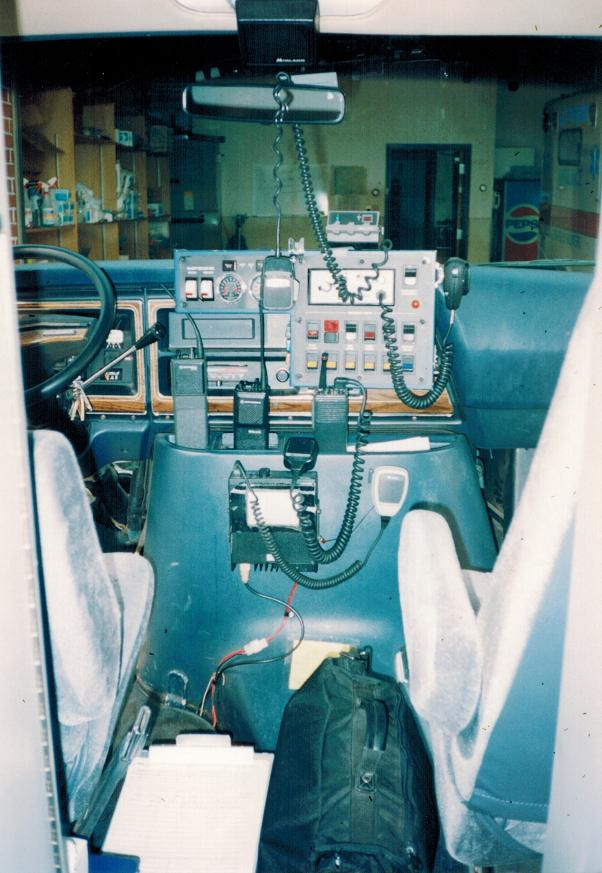 The cab of a 1980's Manchester Ambulance.